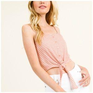 Pink Striped Tie Front Crop Top